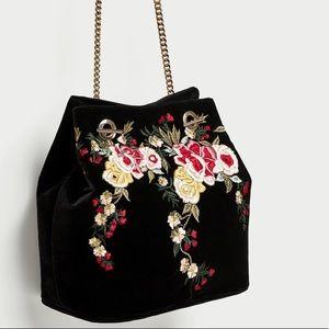 NWT Zara Black Embroidered Velvet Bucket Bag
